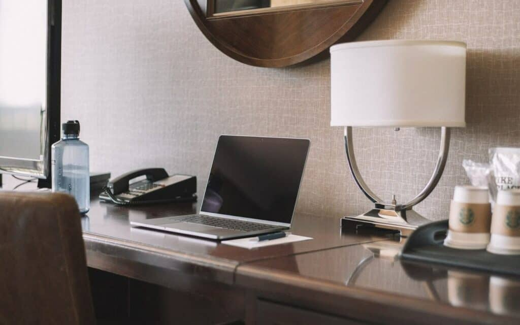 Desk with computer